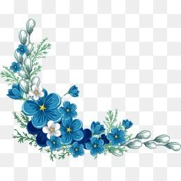 卡通手绘蓝色花边框