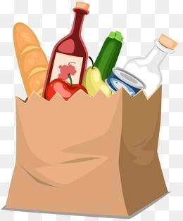 购物纸袋里的食物矢量素材