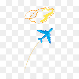 卡通夏日旅行飞机