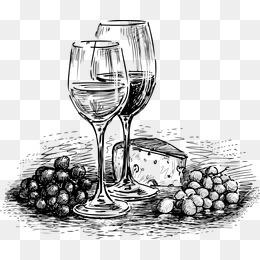 手绘素描酒水矢量素材