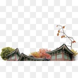 韩国建筑屋顶实景素材